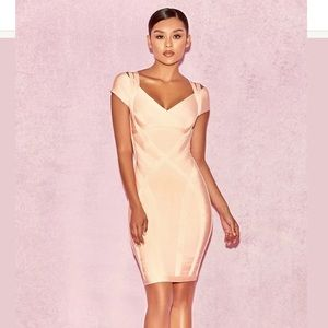 HOUSE OF CB BENDITA PEACH BANDAGE ZIP UP DRESS